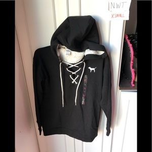 NWT Victoria Secret pink xs lace-up Sherpa hooded
